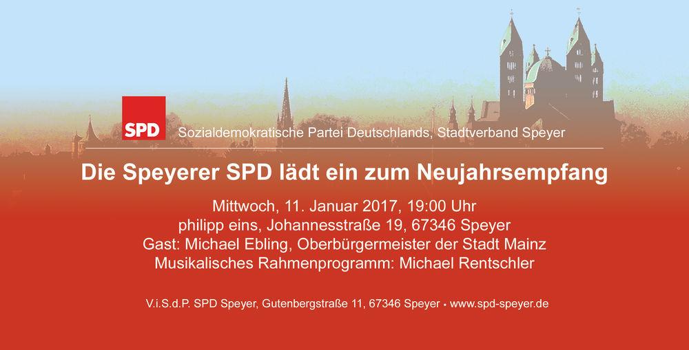 Einladung zum Neujahrsempfang der SPD Speyer.